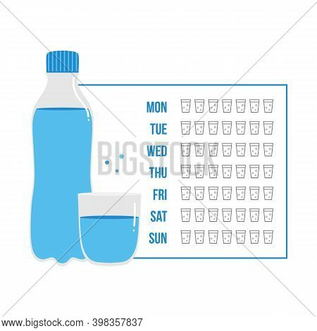 Printable Water Tracker For Week Or Month. Bullet Journal Water Tracker Sticker. Drinking Enough Wat
