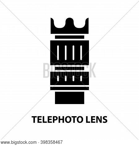 Telephoto Lens Icon, Black Vector Sign With Editable Strokes, Concept Illustration