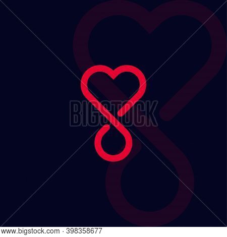 Blood Donation Linear Style Vector Logo Concept. Blood Transfusion Isolated Red Line Icon On Black B