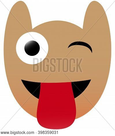 Funny Owl Face Of A Set With Big Eyes. Blink With Tongue Kawaii Emotion. Icons With A Beautiful Grad