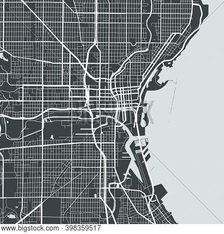 Urban City Map Of Milwaukee. Vector Illustration, Milwaukee Map Grayscale Art Poster. Street Map Ima