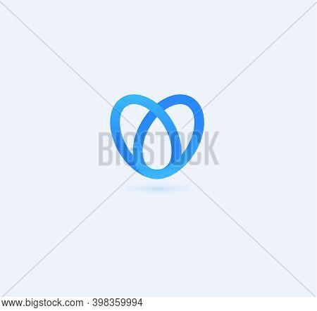 Abstract Heart Blue Line Style Vector Logo Concept. Blood Drop Isolated Icon On White Background. Bl