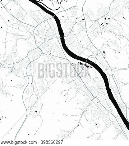 Urban City Map Of Bonn. Vector Illustration, Bonn Map Grayscale Art Poster. Street Map Image With Ro