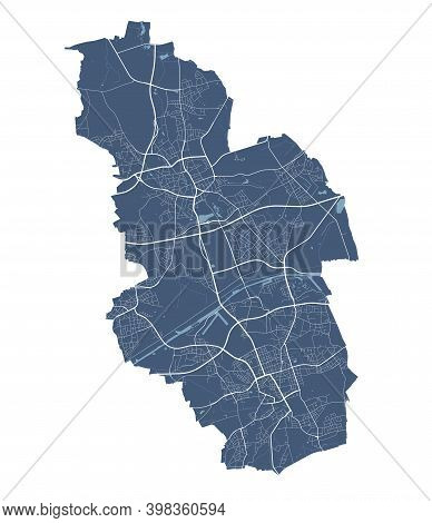 Gelsenkirchen Map. Detailed Vector Map Of Gelsenkirchen City Administrative Area. Cityscape Poster M