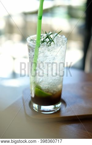Tamarind Juice Soda With Kaffir Lime Leaves. Mocktail Beverage
