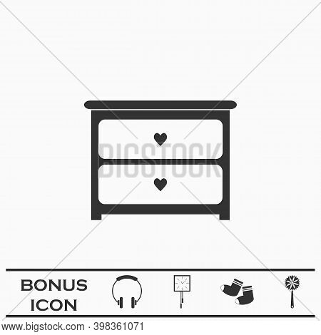 Dresser With Drawers Icon Flat. Black Pictogram On White Background. Vector Illustration Symbol And
