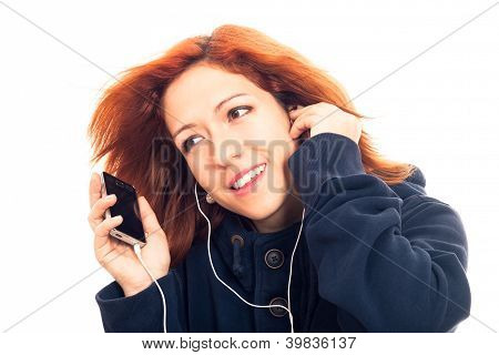 Young Woman With Smartphone Listening Music
