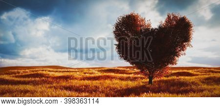 Heart shaped tree with red leaves on field. Concepts of love, Valentine's day. 3D illustration