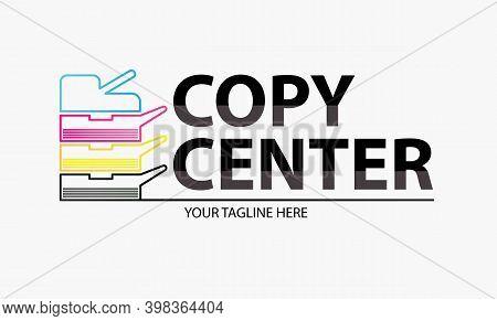 Copy Center Emblem. Digital Print Logo Design Template. Typography Modern Sign. Polygraphy And Print