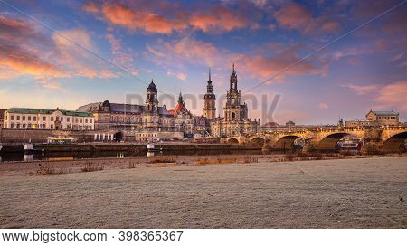 Dresden, Germany. Cityscape Image Of Skyline Dresden, Germany With Dresden Cathedral During Beautifu