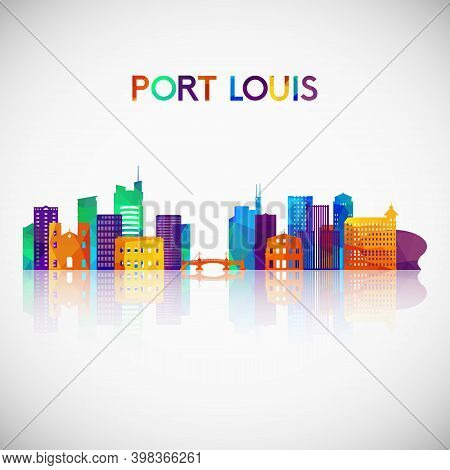 Port Louis Skyline Silhouette In Colorful Geometric Style. Symbol For Your Design. Vector Illustrati