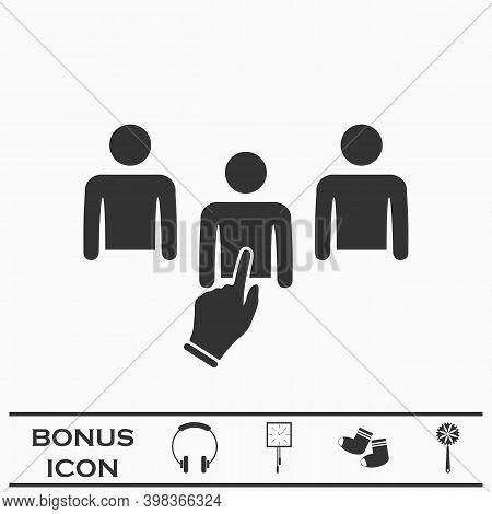 Chosen One Icon Flat. Black Pictogram On White Background. Vector Illustration Symbol And Bonus Butt