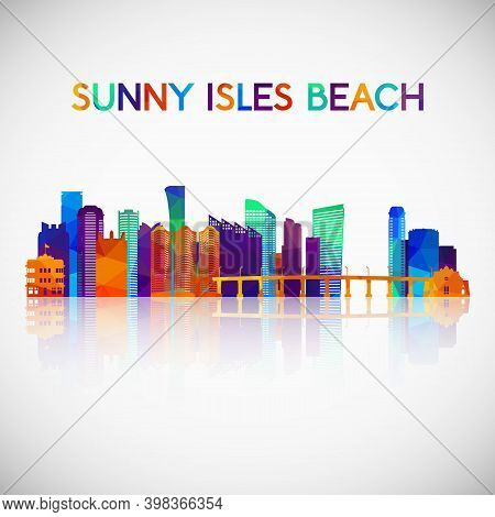 Sunny Isles Beach Skyline Silhouette In Colorful Geometric Style. Symbol For Your Design. Vector Ill