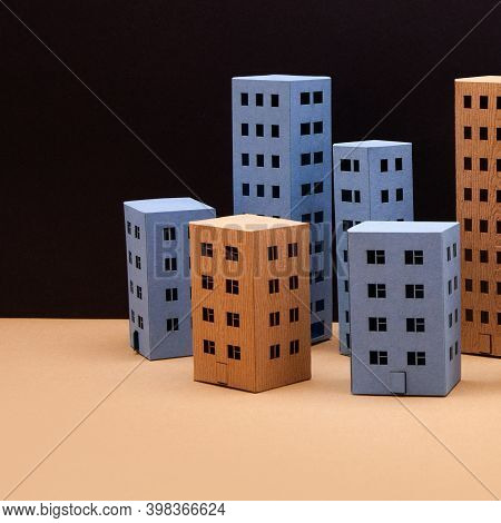 Blue Brown Abstract Town Houses On Black Beige Background. Night City Architecture Landscape, Simpli