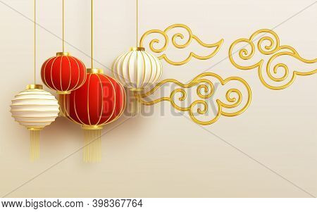 Chinese New Year Design Template With And Red Lanterns And Cloud On The Light Background. Vector Ill