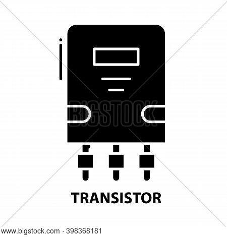 Transistor Icon, Black Vector Sign With Editable Strokes, Concept Illustration