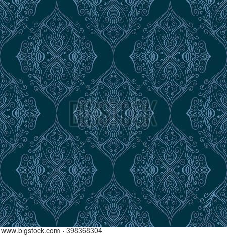 Vintage Blue And Cyan Ornamental Outline Curly Ottoman Ethnic Curly Seamless Pattern, Isolated On Na