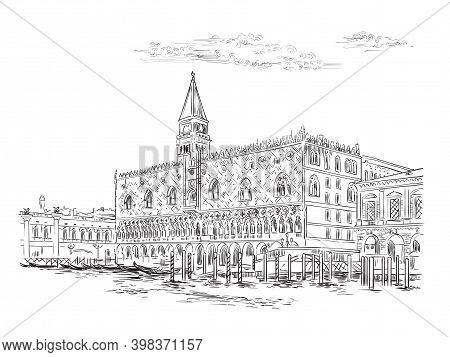 Venice Skyline Hand Drawing Vector Illustration Doges Palace