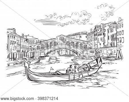 Venice Skyline Hand Drawing Vector Illustration Rialto Bridge