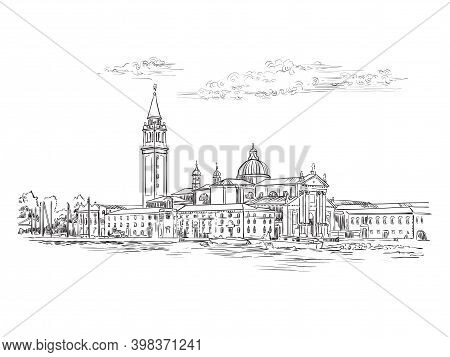 Venice Skyline View Hand Drawing Vector Illustration Panorama