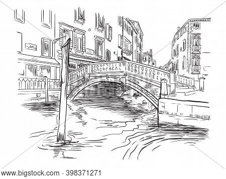 Venice Hand Drawing Vector Illustration Canal And Bridge