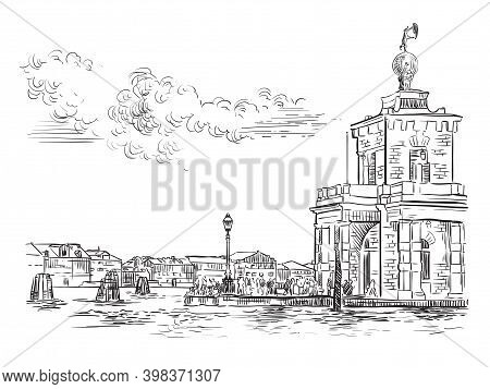Venice Skyline Hand Drawing Vector Della Dogane Punta