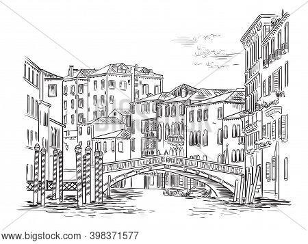 Venice Cityscape Hand Drawing Vector Illustration And Bridge