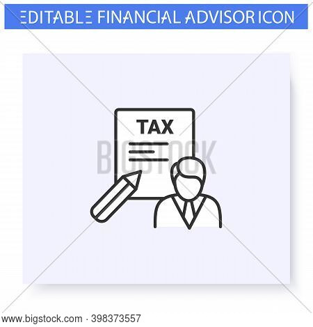 Tax Preparer Line Icon. Tax Specialist. Financial Advisor. Consulting In Business, Accounting And Fi