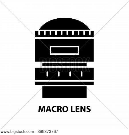 Macro Lens Icon, Black Vector Sign With Editable Strokes, Concept Illustration