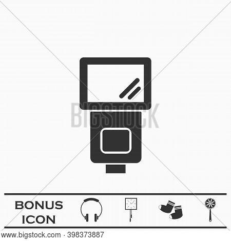 Flush Bulb Icon Flat. Black Pictogram On White Background. Vector Illustration Symbol And Bonus Butt