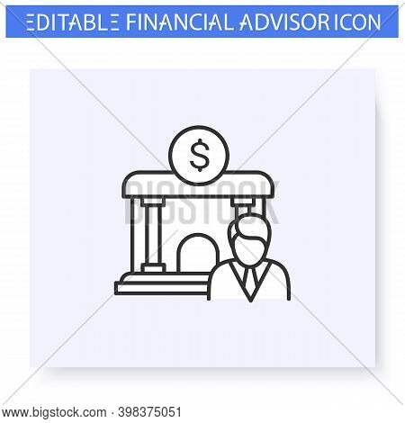 Finance Industry Line Icon.regulatory Authority.guidance And Consulting In Business, Accounting And