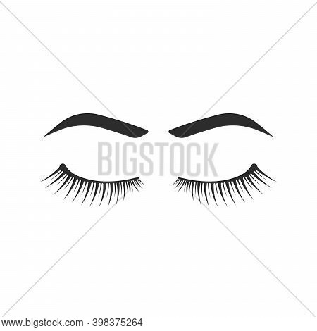 Eyelashes And Eyebrows Black Icon. Flat Simple Style Trend Modern Lashes Extension Logotype Graphic