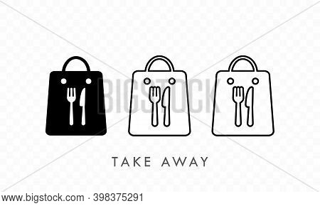 Take Away Paper Food Bag Icon Set. Daily Meal In Paper Bag. Vector Illustration Of Takeaway Lunch Se