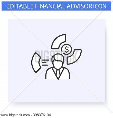 Asset Allocation Specialist Line Icon. Financial Advisor. Guidance In Business, Accounting And Finan