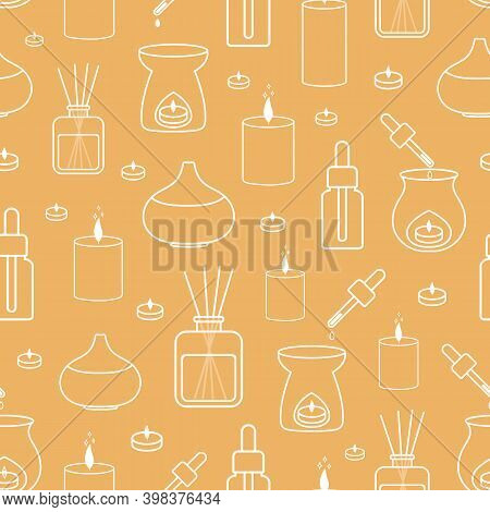 Vector Seamless Pattern With Reed Diffusers, Essential Oil Burners, Aroma Oil Bottles And Scented Ca