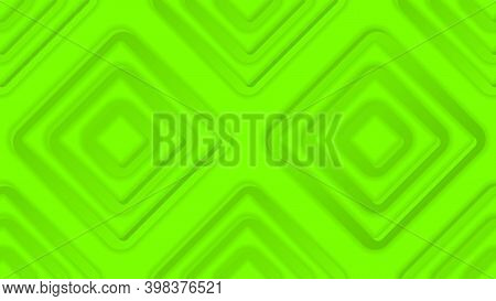 Abstract Geometric Monochrome Background In Green Color. 3d Repeating Rhomboid Shapes With Shadows.