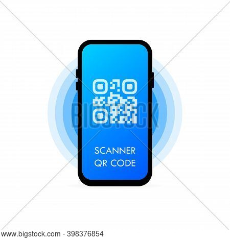Qr Scanner. Read Bar Code, Mobility, Generating App, Coding. Mobile Scans Qr Code. Flat Style Trend