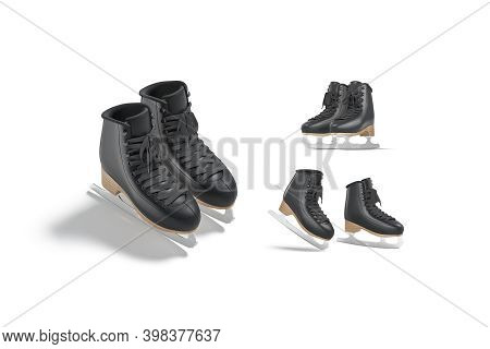 Blank Black Ice Skates With Blade Mockup Pair, Different Views, 3d Rendering. Empty Skating Boots Fo