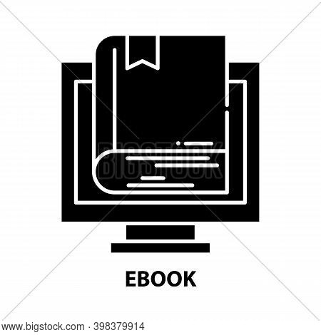 Ebook Icon, Black Vector Sign With Editable Strokes, Concept Illustration