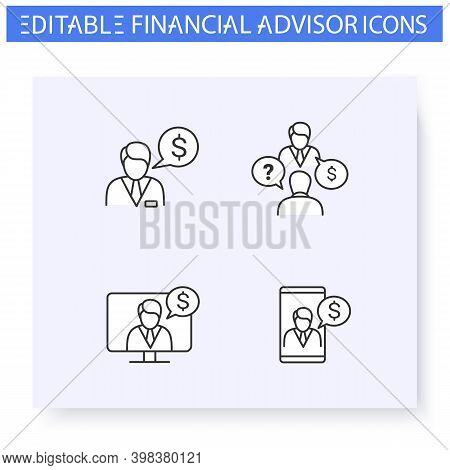 Financial Advisory Line Icon Set.including Remote Consulting, Finance Advisor, Consultation And More