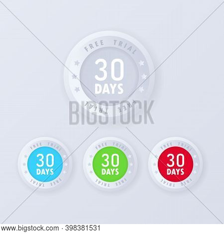 30 Days Free Trial Button In 3d Style. Vector Illustration. Free Trial Badges, Icon Set. Vector Cert