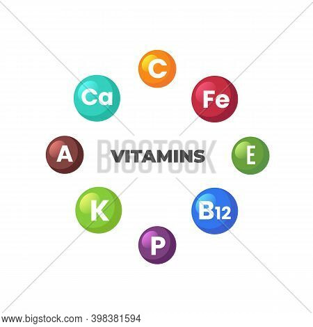 Set Of Main Vitamin Isolated On White Background. Vitamins, Minerals, Nutrients Infographic. Essenti