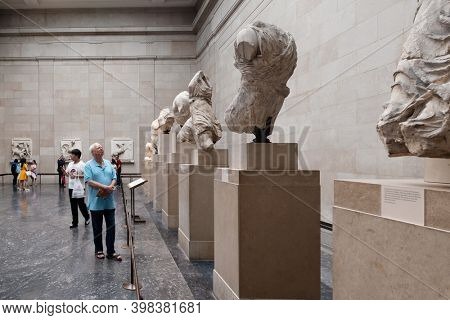LONDON,UK - JULY 31,2019 : The Elgin Marbles, ancient greek antiquities from the Parthenon in Athens, at  the British Museum
