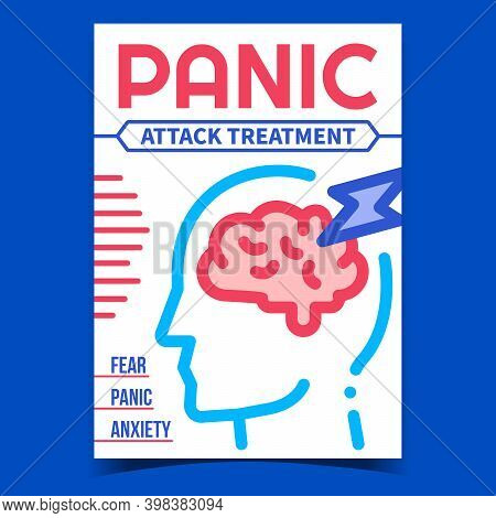 Panic Attack Treatment Promotion Poster Vector. Fear, Panic And Anxiety Symptoms Disease Advertising
