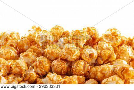 Sweet Golden Caramel Candy Popcorn White Background