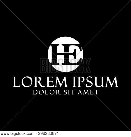 Initial Letter He Logo Template With Serif Font On Rounded Negative Space Illustration In Flat Desig