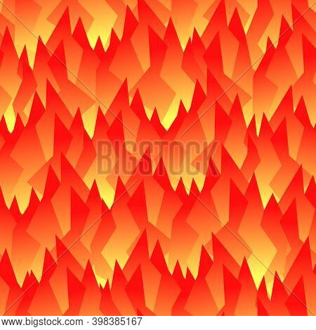 A Seamless Abstract Pattern Looks Like A Flame Or Bright Autumn Leaves. Red And Orange Shades. Brigh