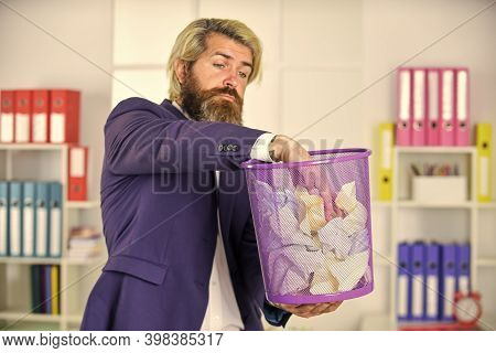 Try To Find. Office Worker Digging In Garbage Bin. Businessman Hold Trashcan. Man In Office Look For