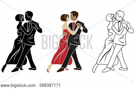 Silhouette Of Couple Dancing Tango. Vector Illustration Eps10.