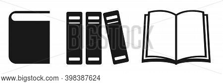 Book Icon. Isolated Book Symbol. Open And Closed Book Silhouette. Dictionary Pictogram. Black Docume